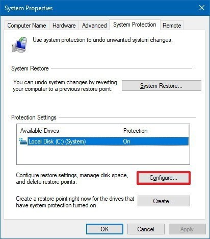 How to create a system restore point in Windows 10